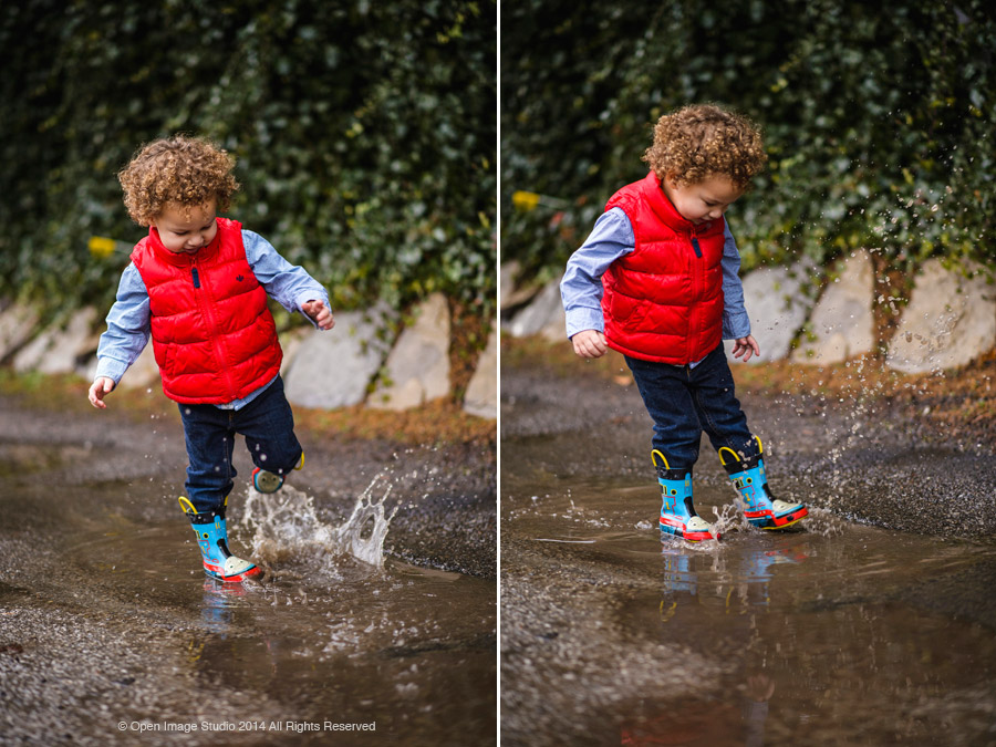 Child playing in the puddles