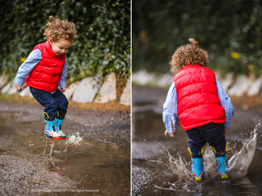 Child playing in rain puddles